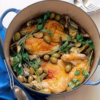 """<p>This falls between <a href=""""https://www.myrecipes.com/chicken-recipes"""" rel=""""nofollow noopener"""" target=""""_blank"""" data-ylk=""""slk:classic roast chicken"""" class=""""link rapid-noclick-resp"""">classic roast chicken</a> and <a href=""""https://www.myrecipes.com/cooking-method/mistakes-to-avoid-braising-meat"""" rel=""""nofollow noopener"""" target=""""_blank"""" data-ylk=""""slk:a braise"""" class=""""link rapid-noclick-resp"""">a braise</a>. Adding a bit of water to the juices and the garlic creates a sauce to spoon over mashed potatoes.</p>"""