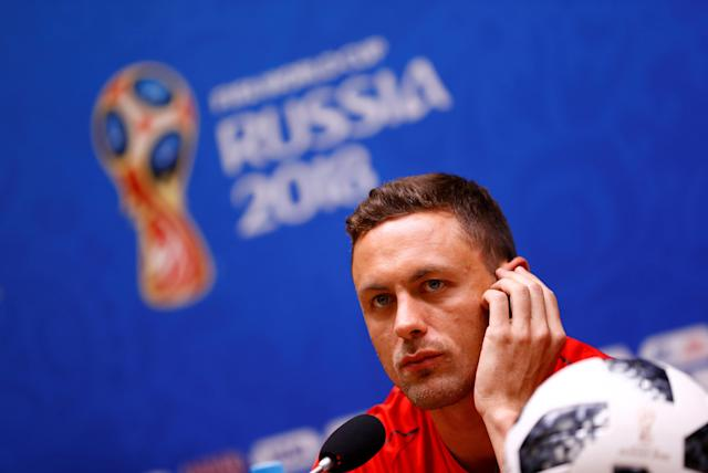Soccer Football - World Cup - Serbia Press Conference - Kaliningrad Stadium, Kaliningrad, Russia - June 21, 2018 Serbia's Nemanja Matic during the press conference REUTERS/Fabrizio Bensch