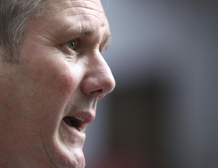 Labour opposition leader Keir Starmer set out part of his vision for the UK on Thursday. Photo: Jonathan Brady/PA via AP