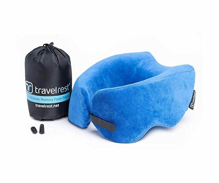 """<p><strong>Travelrest</strong></p><p>amazon.com</p><p><strong>$39.95</strong></p><p><a href=""""https://www.amazon.com/dp/B011Q4NYOC?tag=syn-yahoo-20&ascsubtag=%5Bartid%7C10060.g.24445809%5Bsrc%7Cyahoo-us"""" rel=""""nofollow noopener"""" target=""""_blank"""" data-ylk=""""slk:Shop Now"""" class=""""link rapid-noclick-resp"""">Shop Now</a></p><p>A <a href=""""https://www.popularmechanics.com/adventure/outdoor-gear/a29518652/best-travel-pillow/"""" rel=""""nofollow noopener"""" target=""""_blank"""" data-ylk=""""slk:great travel pillow"""" class=""""link rapid-noclick-resp"""">great travel pillow</a> will make those long hours spent in the car or on a plane just that much more bearable when you're visiting family or friends over the holidays. The Travelrest even packs down into a bag that's a ¼ its original size for super easy transport.<br></p>"""