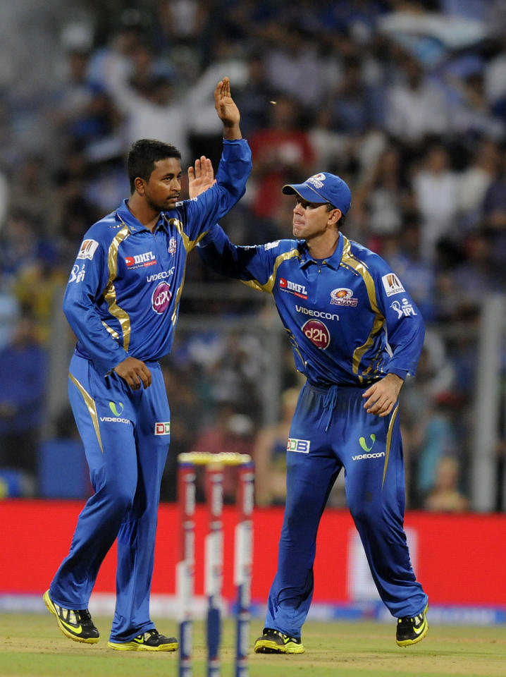 Pragyan Ojha of Mumbai Indians celebrates the wicket of Shahbaz Nadeem of Delhi Daredevils during match 10 of the Pepsi Indian Premier League ( IPL) 2013  between The Mumbai Indians and the Delhi Daredevils held at the Wankhede Stadium in Mumbai on 9th April 2013 ..Photo by Pal Pillai-IPL-SPORTZPICS ..Use of this image is subject to the terms and conditions as outlined by the BCCI. These terms can be found by following this link:..https://ec.yimg.com/ec?url=http%3a%2f%2fwww.sportzpics.co.za%2fimage%2fI0000SoRagM2cIEc&t=1501261798&sig=0lMzFgRSK5qOBkXyQEuyJA--~C