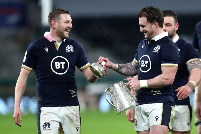Johnny Sexton singled out the threats of Finn Russell, left, and Stuart Hogg, right