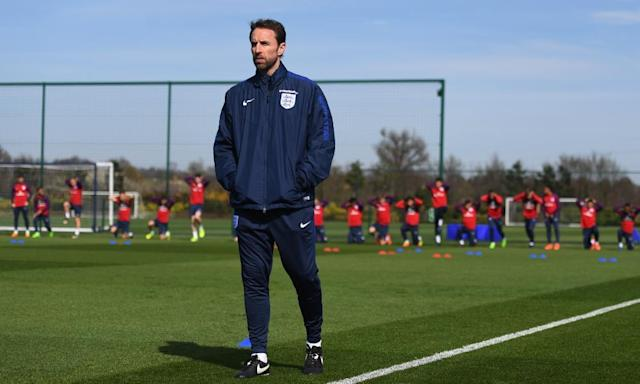 "<span class=""element-image__caption"">Gareth Southgate oversees England training as they prepare for their game against Lithuania.</span> <span class=""element-image__credit"">Photograph: Michael Regan/The FA via Getty Images</span>"