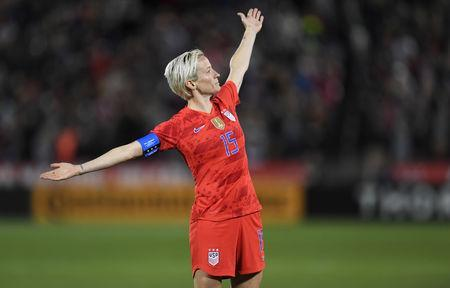 FILE PHOTO: Apr 4, 2019; Commerce City, CO, USA; United States forward Megan Rapinoe (15) reacts following her goal in the second half during an International Friendly Women's Soccer match against Australia at Dick's Sporting Goods Park. Mandatory Credit: Ron Chenoy-USA TODAY Sports/File Photo