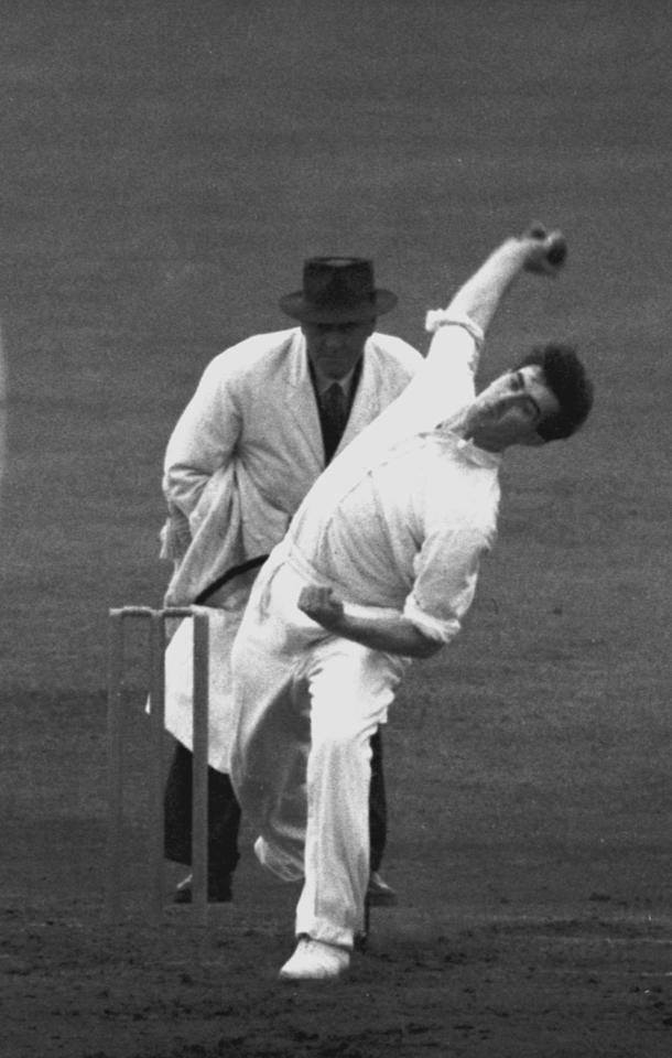 Fred Trueman (1931 - 2006) bowls for England in the Third Test against India at Old Trafford, Manchester, 17th-19th July 1952. (Photo by Central Press/Hulton Archive/Getty Images)