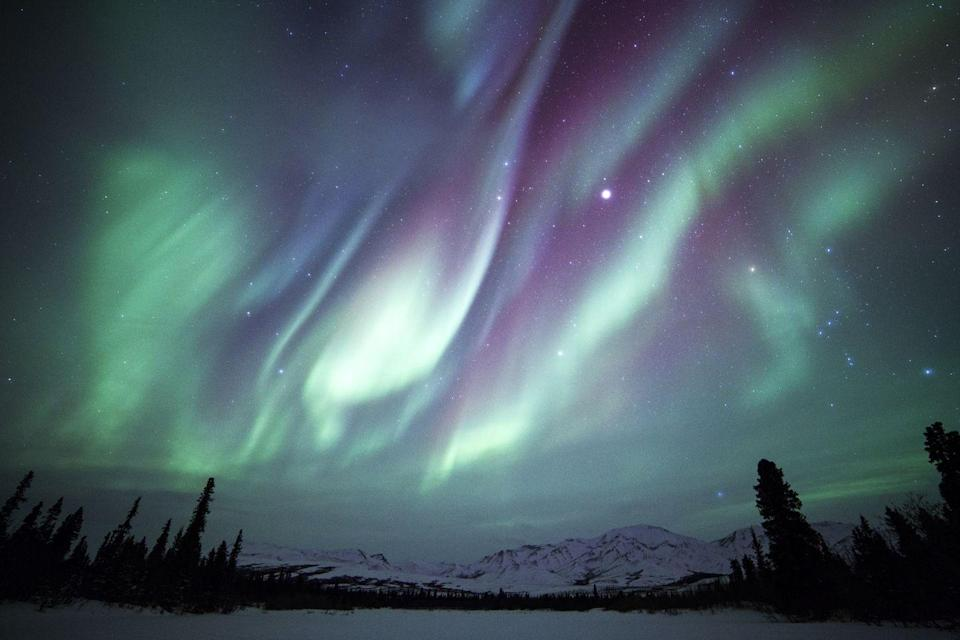 <p>Dark winter nights are the best time to see the Northern Lights put on a show at Denali National Park in Alaska. Here you can see the Aurora Borealis, Orion, and Jupitar over the park in a stunning array of color. </p>