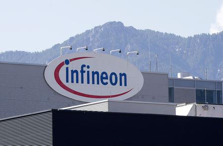 The logo of semiconductor manufacturer Infineon is seen at its Austrian headquarters in Villach, Austria, June 3, 2018. REUTERS/Lisi Niesner/File photo