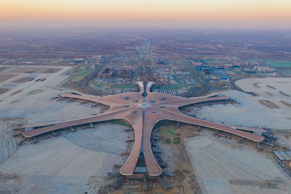 Aerial view of the world's largest airport. (Photo by Mo Jiaxun/Visual China Group via Getty Images)