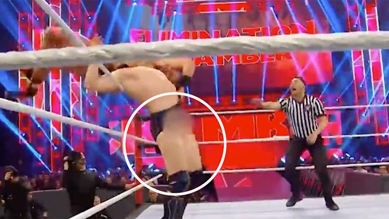 Pictured here, one of the wardrobe malfunctions Daniel Bryan suffered at WWE Elimination Chamber.