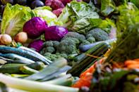 <p>Because green foods are delicious, healthy, and filling, strive to eat some with every meal and snack! First on the list are hearty vegetables. Reach for colorful, nutrient-dense options like the ones below.</p> <ul> <li>Broccoli</li> <li>Cauliflower</li> <li>Sweet potatoes</li> <li>Carrots</li> <li>Cucumbers</li> <li>Asparagus</li> <li>Brussels sprouts</li> <li>Salad greens, such as spinach</li> </ul>