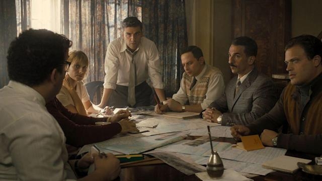 In <em>Operation Finale</em>, Oscar Isaac, standing, stars as Mossad agent Peter Malkin, who led a team of Israeli spies who tracked down and captured the notorious Adolf Eichmann (played by Ben Kingsley) 15 years after World War II. (Photo: <span>Automatik Entertainment</span>)