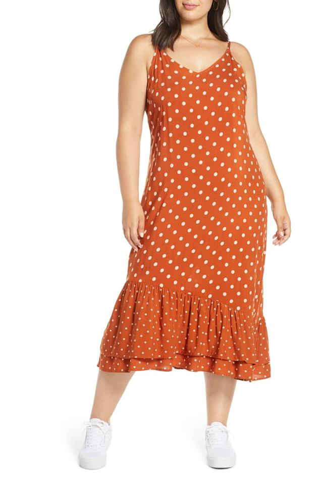 "<p>Pair this <a href=""https://www.popsugar.com/buy/BP-Floral-Sundress-484998?p_name=BP.%20Floral%20Sundress&retailer=shop.nordstrom.com&pid=484998&price=49&evar1=fab%3Aus&evar9=45278025&evar98=https%3A%2F%2Fwww.popsugar.com%2Ffashion%2Fphoto-gallery%2F45278025%2Fimage%2F46553887%2FBP-Floral-Sundress&list1=shopping%2Cfall%20fashion%2Cdresses%2Cfall%2Caffordable%20shopping&prop13=mobile&pdata=1"" rel=""nofollow"" data-shoppable-link=""1"" target=""_blank"" class=""ga-track"" data-ga-category=""Related"" data-ga-label=""https://shop.nordstrom.com/s/bp-floral-sundress-plus-size/5303434?origin=category-personalizedsort&amp;breadcrumb=Home%2FWomen%2FClothing%2FDresses&amp;color=red%20polish%20polka%20dot"" data-ga-action=""In-Line Links"">BP. Floral Sundress</a> ($49) with sneakers.</p>"