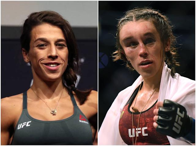 Joanna Jedrzejczyk before the fight ... and after: Getty
