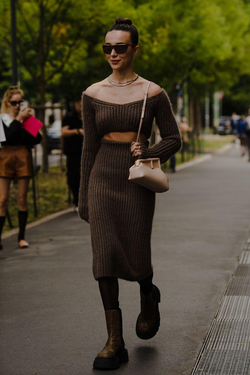 <p>Knitted separates by Fendi are perfect for early fall.</p>