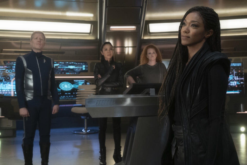 Anthony Rapp, Michelle Yeoh, Mary Wiseman and Sonequa Martin-Green in Season 3 of 'Star Trek: Discovery' (Photo: Michael Gibson/CBS Interactive, Inc.)