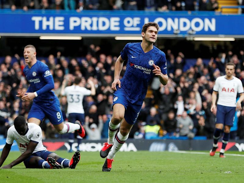 Chelsea's Marcos Alonso celebrates scoring their second goal: Action Images via Reuters