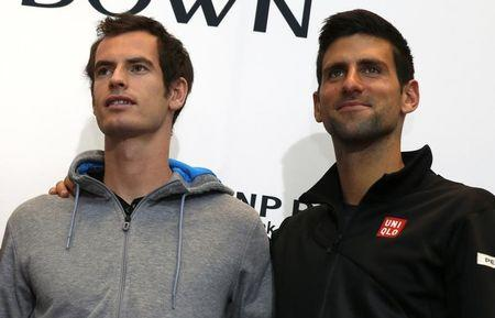 Tennis stars Murray of England and Djokovic of Serbia pose for photographers at news conference in New York celebrating World Tennis Day