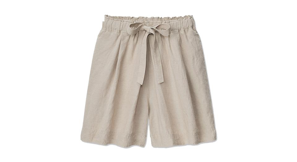 JW ANDERSON LINEN BLEND TUCKED SHORTS