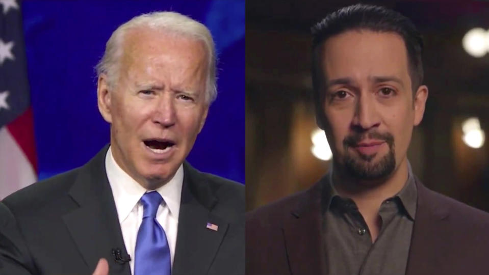 In this image from video, President Joe Biden, left, and Lin-Manuel Miranda recite a poem during the Celebrating America event on Wednesday, Jan. 20, 2021, following the inauguration of Joe Biden as the 46th president of the United States. (Biden Inaugural Committee via AP)