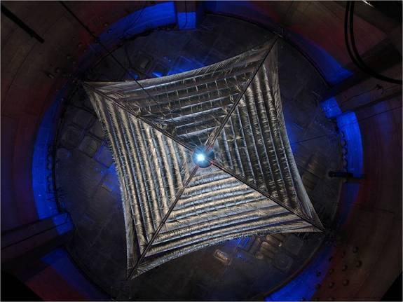 An early prototype of L'Garde solar sail is evaluated in a vacuum chamber at the NASA Glenn Research Center's Plum Brook Facility in Sandusky, Ohio. This test article is a quarter the size of the sail the company plans to fly in 2014.