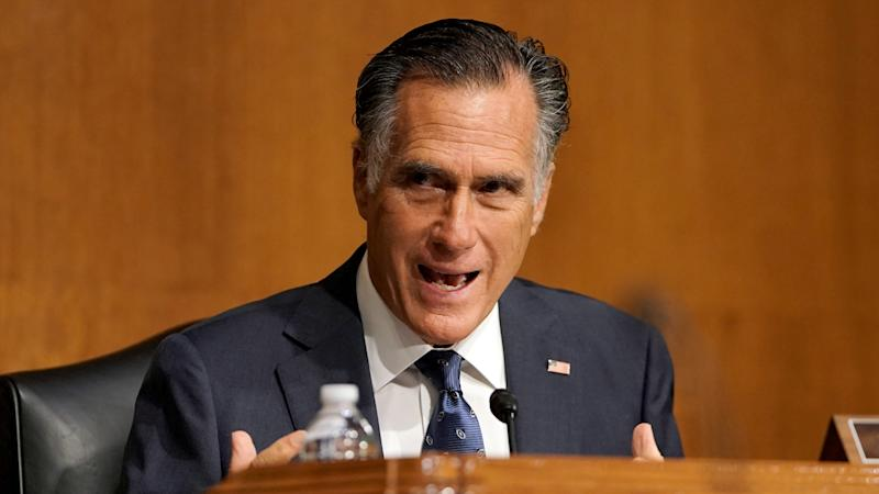 Sen. Mitt Romney, R-Utah, during a Senate Foreign Relations Committee hearing in July. (Greg Nash/Pool via Reuters)