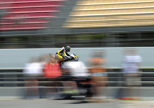 Interwetten Paddock's Swiss Thomas Luthi rides at the Catalunya racetrack in Montmelo, near Barcelona, on June 2, 2012, during Moto2 qualifying session of the Catalunya Moto GP Grand Prix. AFP PHOTO / JOSEP LAGOJOSEP LAGO/AFP/GettyImages