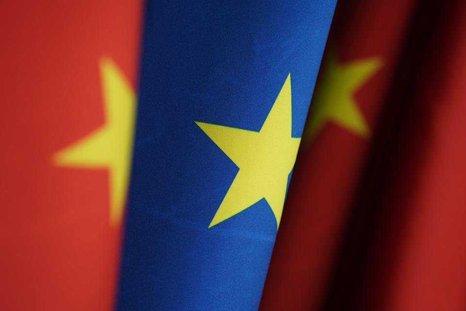 Flags of China and the European Union. Photo: Sean Gallup/Getty Images