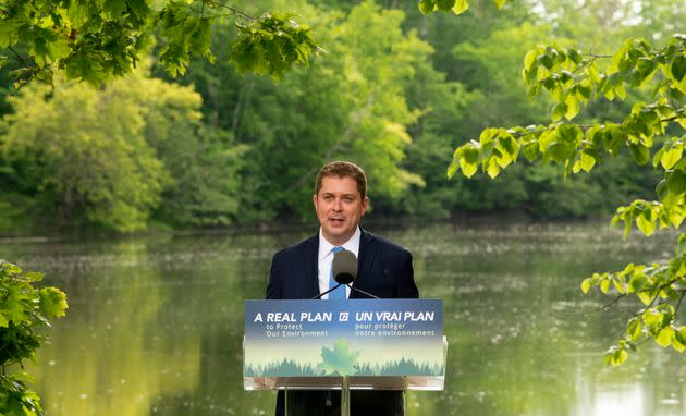 Conservative LeaderAndrewScheerdelivers a speech on the environment in Chelsea, Que. on June 19, 2019.