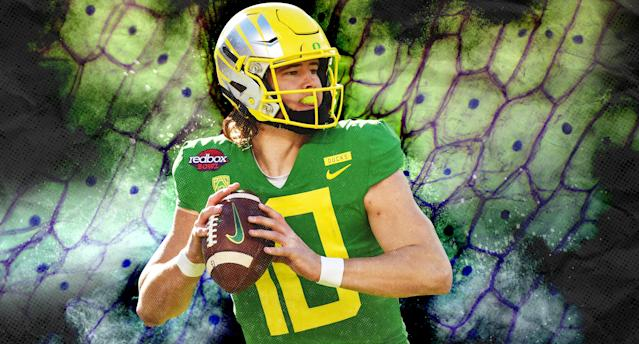 Top NFL prospect Justin Herbert is as fond of biology as he is of football. (Yahoo Sports illustration)