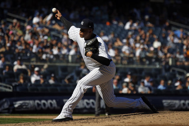New York Yankees relief pitcher Dellin Betances delivers during the eighth inning of a baseball game against the Toronto Blue Jays on Sunday, Sept. 16, 2018, in New York. (AP Photo/Adam Hunger)