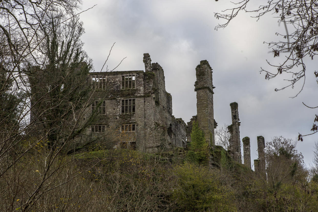 Berry Pomeroy, Devon, UK, 2 December 2015 - Showing Berry Pomeroy castle ruins, which is said to be haunted by several ghosts, the white and blue lady, showing the wall of the old manor house statley home of the Pomeroy family,