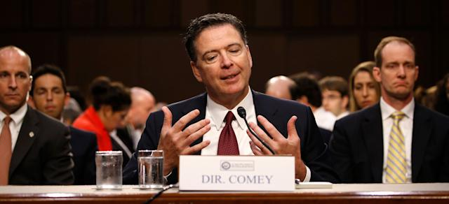 Former FBI Director James Comey testifies before a Senate Intelligence Committee hearing on Russia's alleged interference in the 2016 U.S. presidential election on Capitol Hill on June 8, 2017.