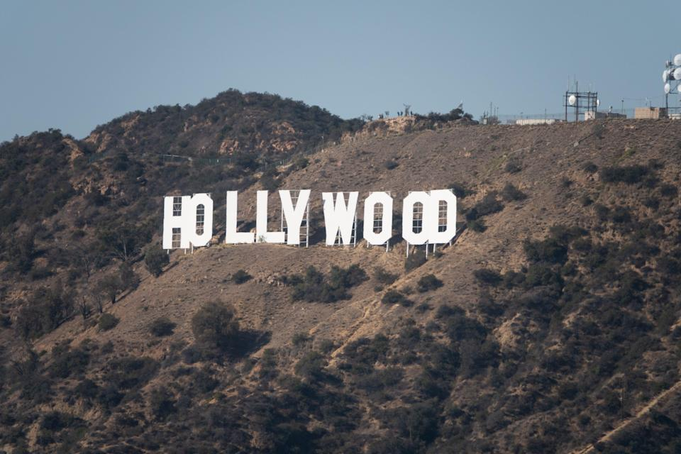 The Hollywood sign, as seen from Griffith Park.