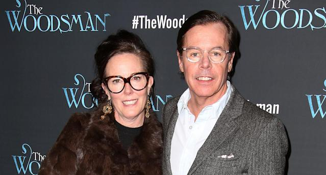 Kate Spade, pictured with husband Andy Spade in February 2016, was found dead in her Park Avenue apartment on Tuesday. Photo: Getty