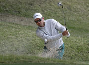 Justin Rose plays a shot from a bunker on the fifth hole during round-robin play at the Dell Technologies Match Play golf tournament, Thursday, March 28, 2019, in Austin, Texas. (AP Photo/Eric Gay)
