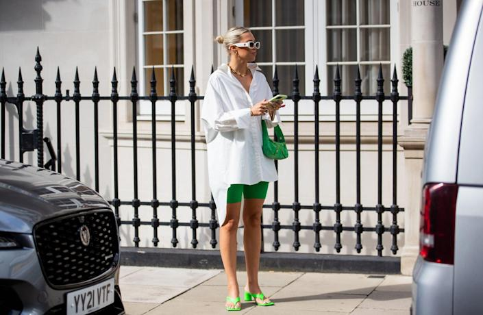 <p>The green additions here give a white button-down a whole new life. </p>