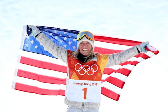 <p>Gold medalist Jamie Anderson of the United States poses during the victory ceremony for the Snowboard Ladies' Slopestyle Final on day three of the PyeongChang 2018 Winter Olympic Games at Phoenix Snow Park on February 12, 2018 in Pyeongchang-gun, South Korea. (Photo by Cameron Spencer/Getty Images) </p>