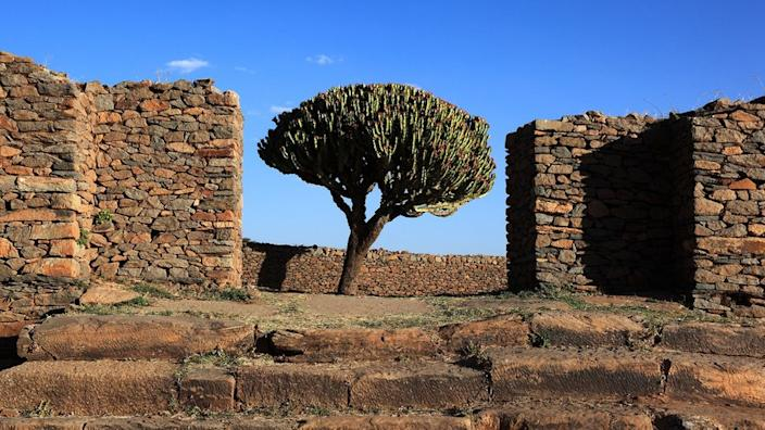 Ruins of the palace of the queen of Sheba near Axum, Axum, Dongur palace