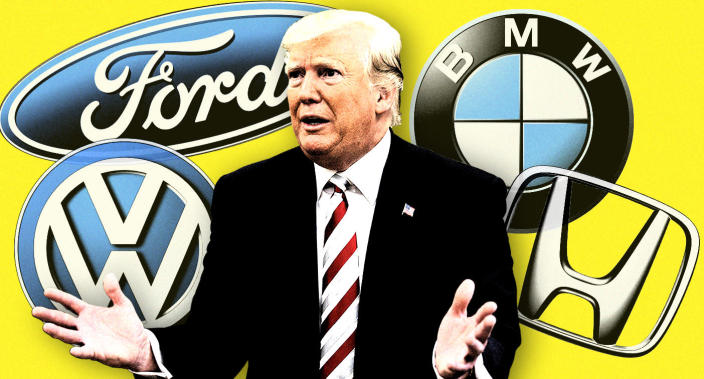 President Trump and carmaker logos. (Photo illustration: Yahoo News; photo: Alex Brandon/AP)