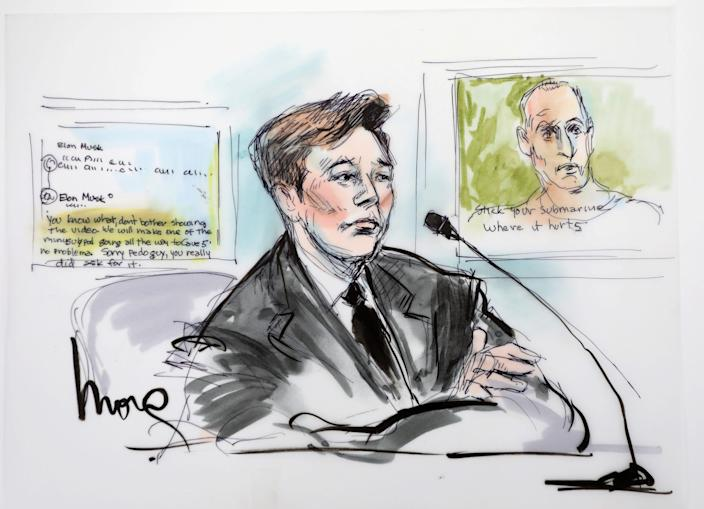 elon musk courtroom sketch