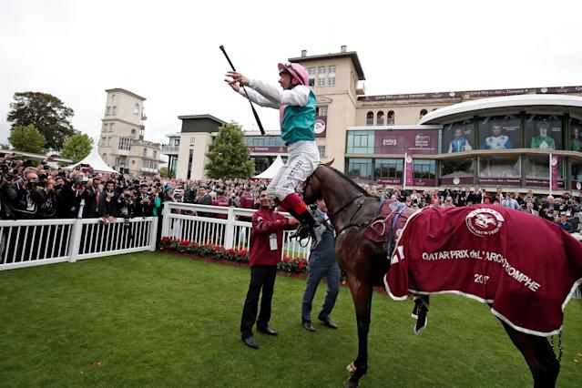Horse Racing - Qatar Prix de l'Arc de Triomphe - Chantilly Racecourse, France - October 1, 2017 Frankie Dettori on Enable celebrates after winning the Qatar Prix de l'Arc de Triomphe (Group 1) REUTERS/Benoit Tessier