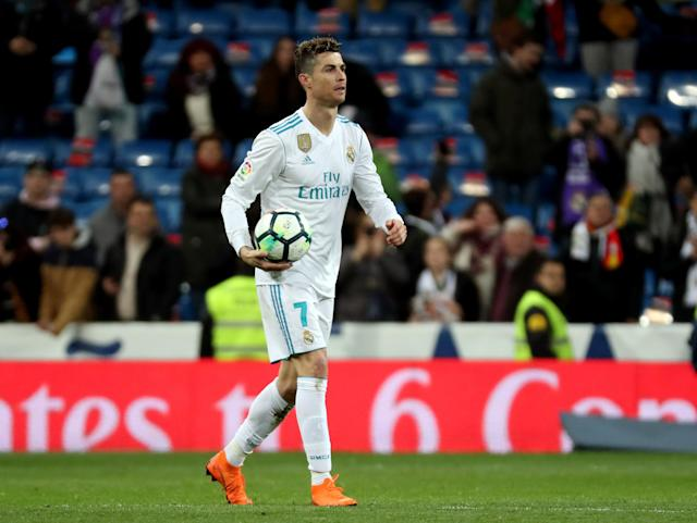 Soccer Football - La Liga Santander - Real Madrid vs Girona - Santiago Bernabeu, Madrid, Spain - March 18, 2018 Real Madrid's Cristiano Ronaldo with the matchball after the match REUTERS/Sergio Perez