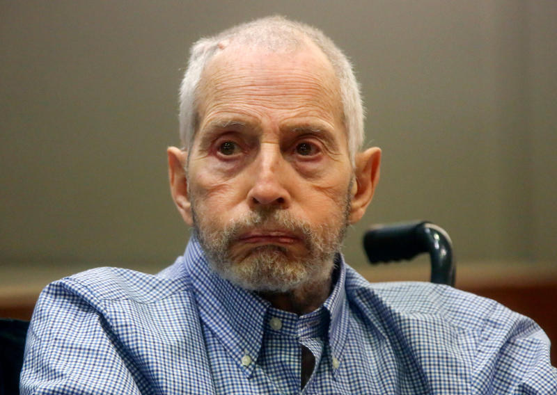 FILE - In this Friday, Jan. 6, 2017, file photo, real estate heir Robert Durst appears in a Los Angeles Superior Court Airport Branch for a pretrial motions hearing in Los Angeles. Three years after Durst's arrest in the fatal shooting of his best friend in Los Angeles, there's still no trial scheduled. That could change after prosecutors begin presenting evidence Monday, April 16, 2018, to persuade a Superior Court judge that Durst should be tried for murder. (Mark Boster/Los Angeles Times via AP, Pool, File)