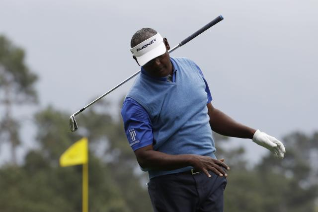 Vijay Singh of Fiji reacts after hitting his shot off the 4th tee during third round play of the 2018 Masters golf tournament at the Augusta National Golf Club in Augusta, Georgia, U.S. April 7, 2018. REUTERS/Jonathan Ernst