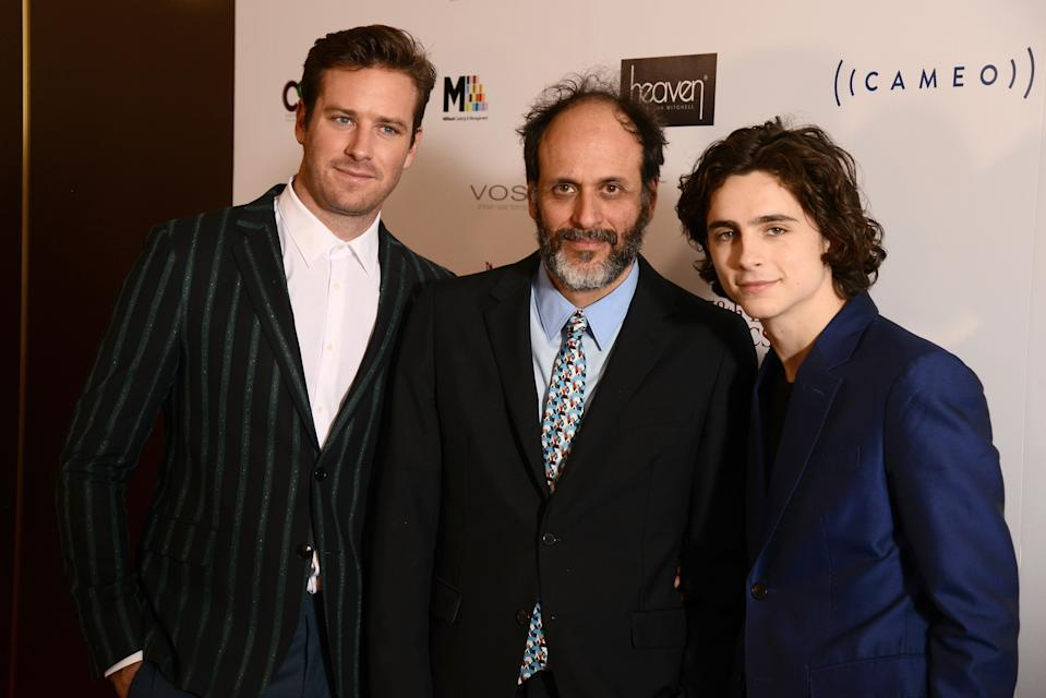 LONDON, ENGLAND - JANUARY 28:  (L-R)  Armie Hammer, director Luca Guadagnino and Timothee Chalamet attend London Film Critics' Circle Awards 2018 at The Mayfair Hotel on January 28, 2018 in London, England.  (Photo by Dave J Hogan/Dave J Hogan/Getty Images)
