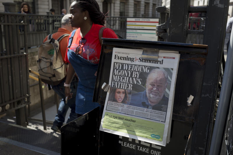 Evening Standard headlines with news of Meghan Markle's father not attending the upcoming royal wedding between the American actor and prince Harry, at Bank underground station in the City of London, the capital's financial district aka the Square Mile, on 15th May 2018, in London, UK. (Photo by Richard Baker / In Pictures via Getty Images Images)