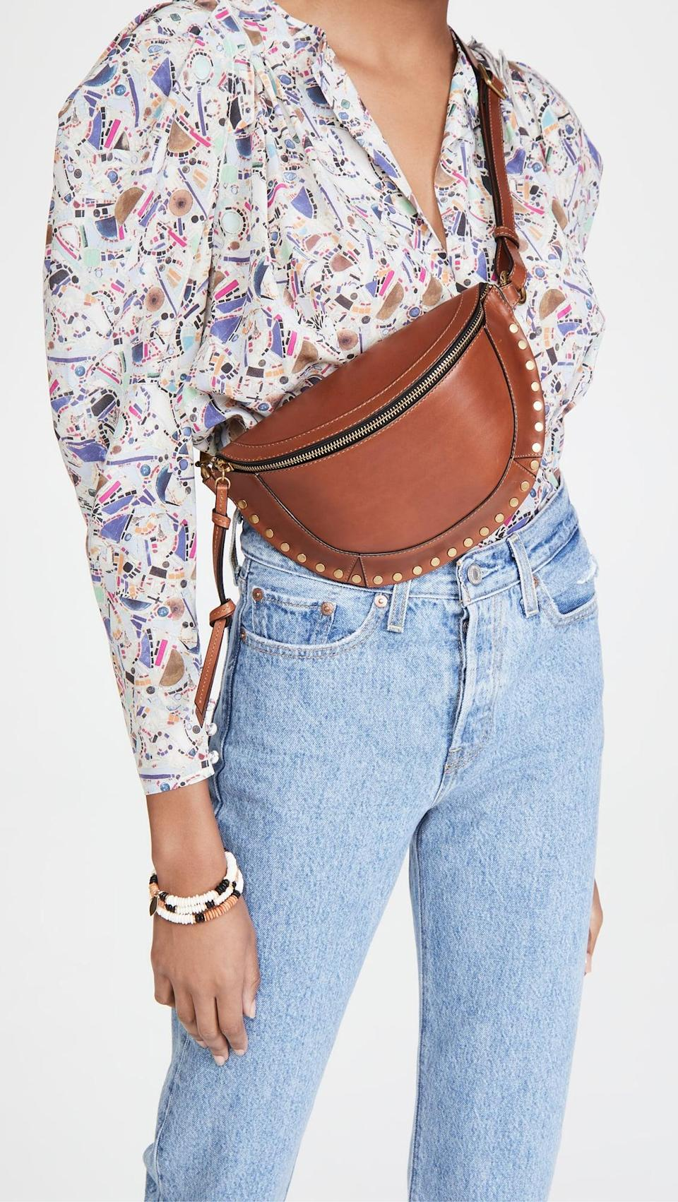 <p>Functional and statement-making, this <span>Isabel Marant Skano Belt Bag</span> ($695) is an ideal pick.</p>