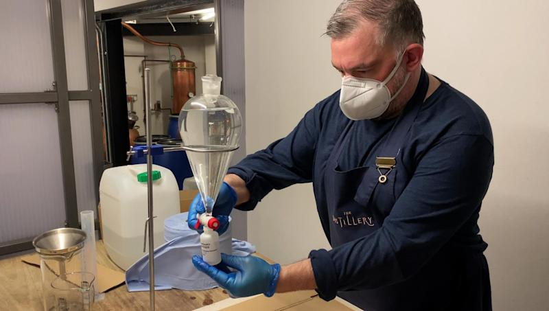 Hand sanitiser being made at the Portobello Road Gin distillery for the Met Police: Met Police