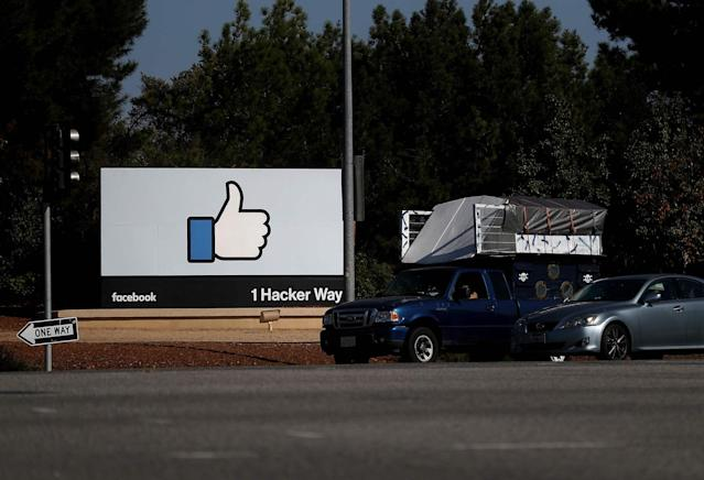 The sign at the entrance to Facebook's sprawling headquarters in Menlo Park, California. Source: Justin Sullivan/Getty Images