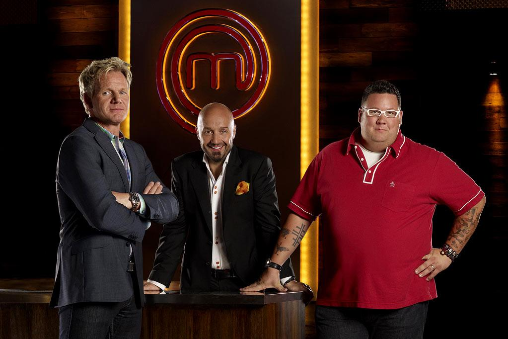 "Chef Gordon Ramsay (L), Restaurateur and wine maker Joe Bastianich (C) and Chef Graham Elliot (R) are judges on ""Masterchef."""